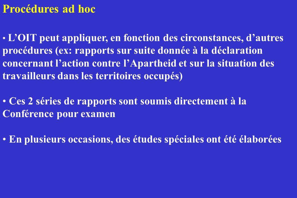 Procédures ad hoc LOIT peut appliquer, en fonction des circonstances, dautres procédures (ex: rapports sur suite donnée à la déclaration concernant la