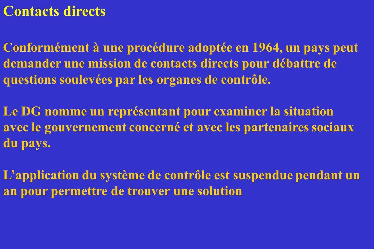 Contacts directs Conformément à une procédure adoptée en 1964, un pays peut demander une mission de contacts directs pour débattre de questions soulev