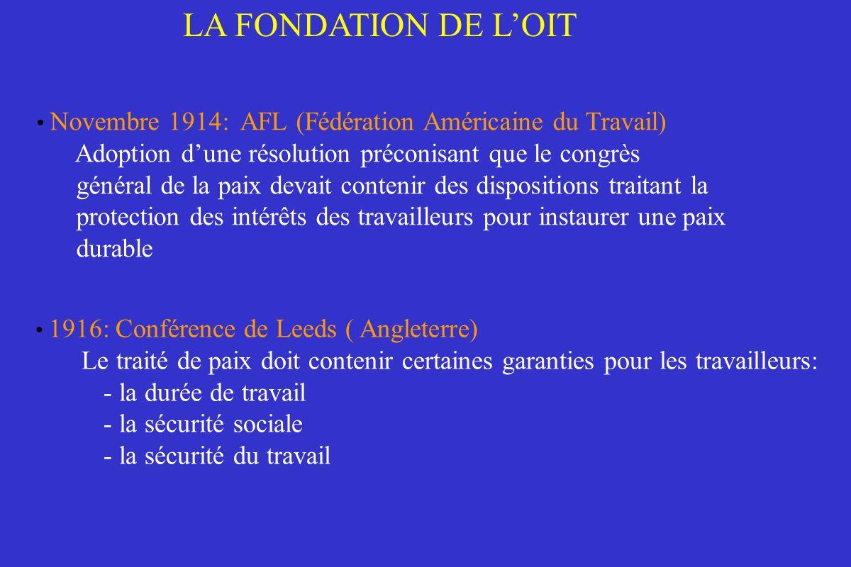 Novembre 1914: AFL (Fédération Américaine du Travail) Adoption dune résolution préconisant que le congrès général de la paix devait contenir des dispo