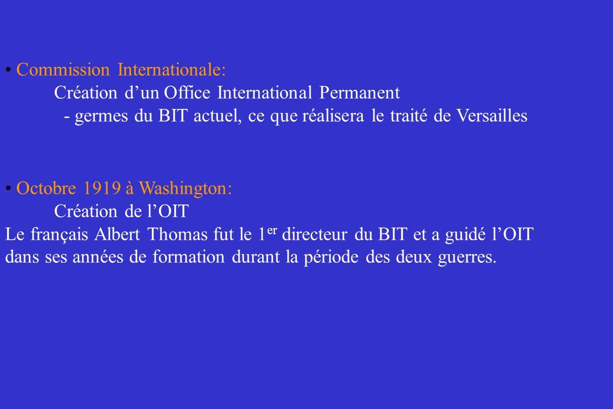 Commission Internationale: Création dun Office International Permanent - germes du BIT actuel, ce que réalisera le traité de Versailles Octobre 1919 à