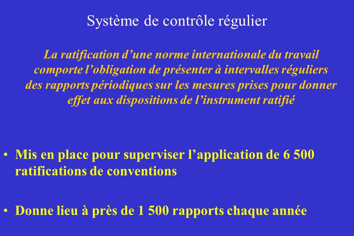 Système de contrôle régulier Mis en place pour superviser lapplication de 6 500 ratifications de conventions Donne lieu à près de 1 500 rapports chaqu