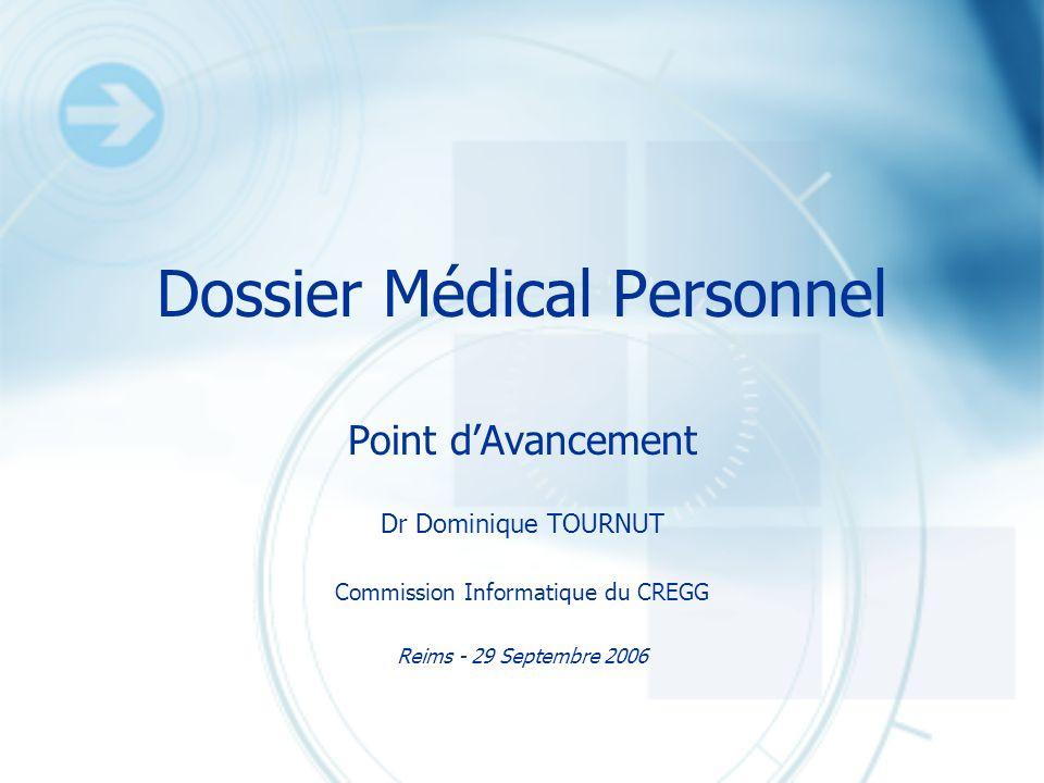 Dossier Médical Personnel Point dAvancement Dr Dominique TOURNUT Commission Informatique du CREGG Reims - 29 Septembre 2006