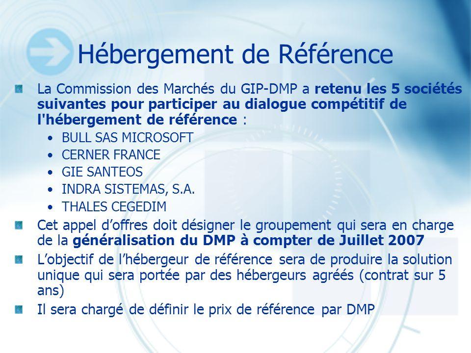 Hébergement de Référence La Commission des Marchés du GIP-DMP a retenu les 5 sociétés suivantes pour participer au dialogue compétitif de l'hébergemen