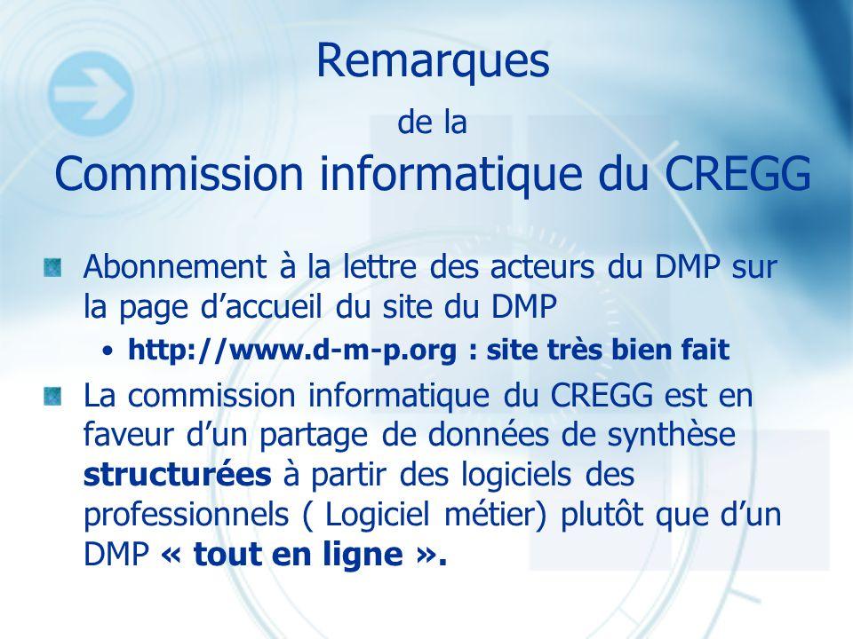 Remarques de la Commission informatique du CREGG Abonnement à la lettre des acteurs du DMP sur la page daccueil du site du DMP http://www.d-m-p.org :