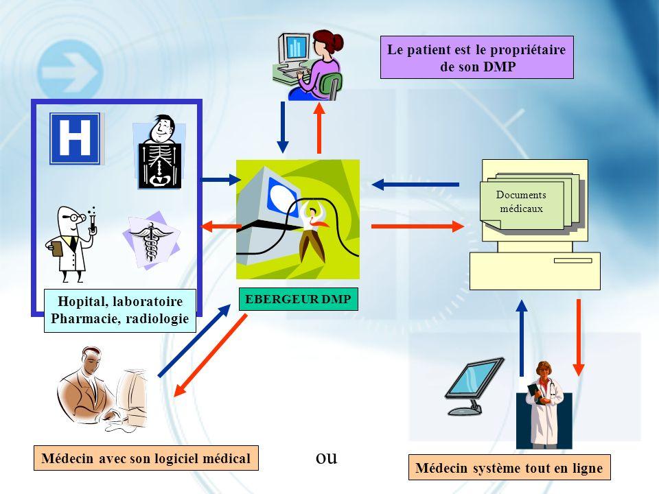 EBERGEUR DMP Médecin avec son logiciel médical Le patient est le propriétaire de son DMP Documents médicaux Médecin système tout en ligne Hopital, lab