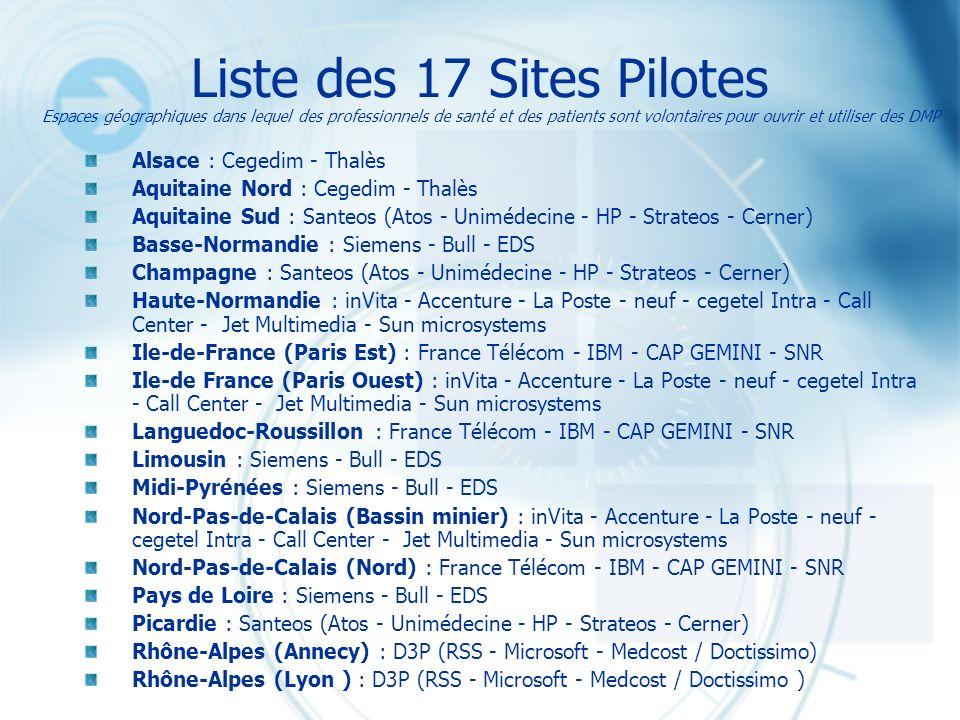 Liste des 17 Sites Pilotes Alsace : Cegedim - Thalès Aquitaine Nord : Cegedim - Thalès Aquitaine Sud : Santeos (Atos - Unimédecine - HP - Strateos - C