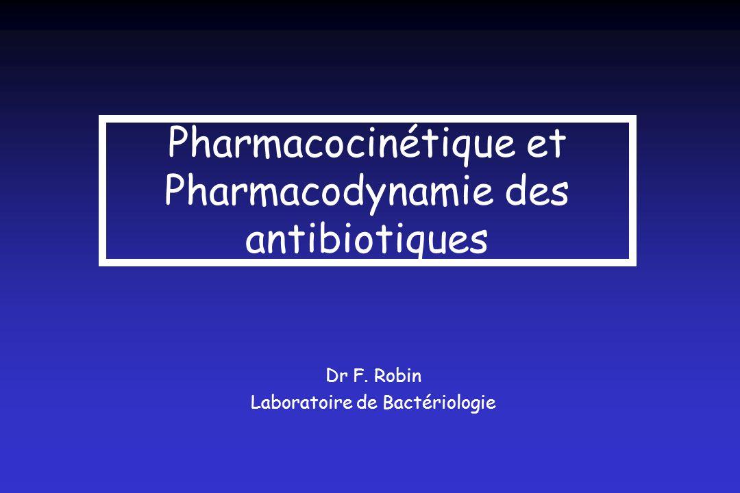 Pharmacocinétique et Pharmacodynamie des antibiotiques Dr F. Robin Laboratoire de Bactériologie