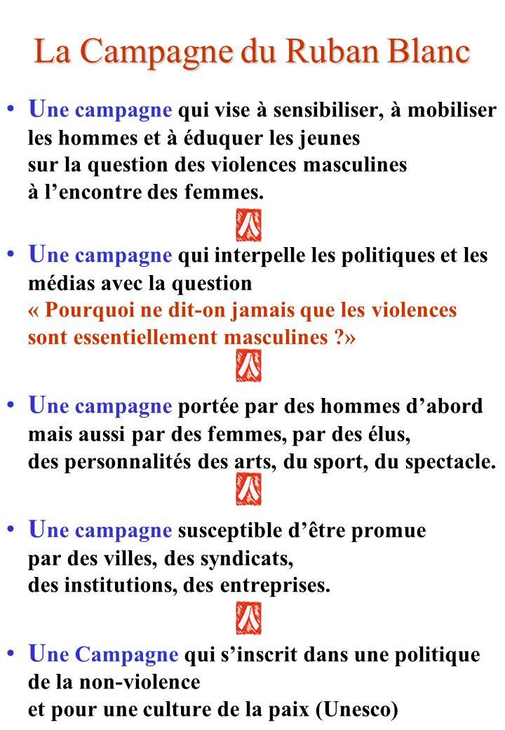 La Campagne du Ruban Blanc U ne campagne qui vise à sensibiliser, à mobiliser les hommes et à éduquer les jeunes sur la question des violences masculines à lencontre des femmes.