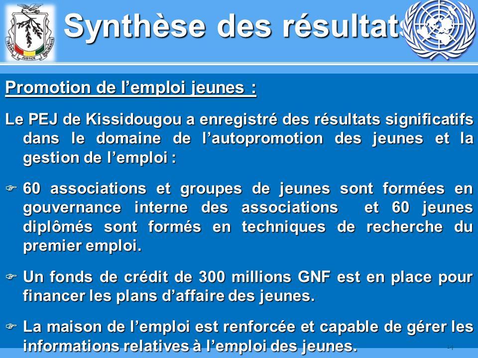 Synthèse des résultats Promotion de lemploi jeunes : Le PEJ de Kissidougou a enregistré des résultats significatifs dans le domaine de lautopromotion