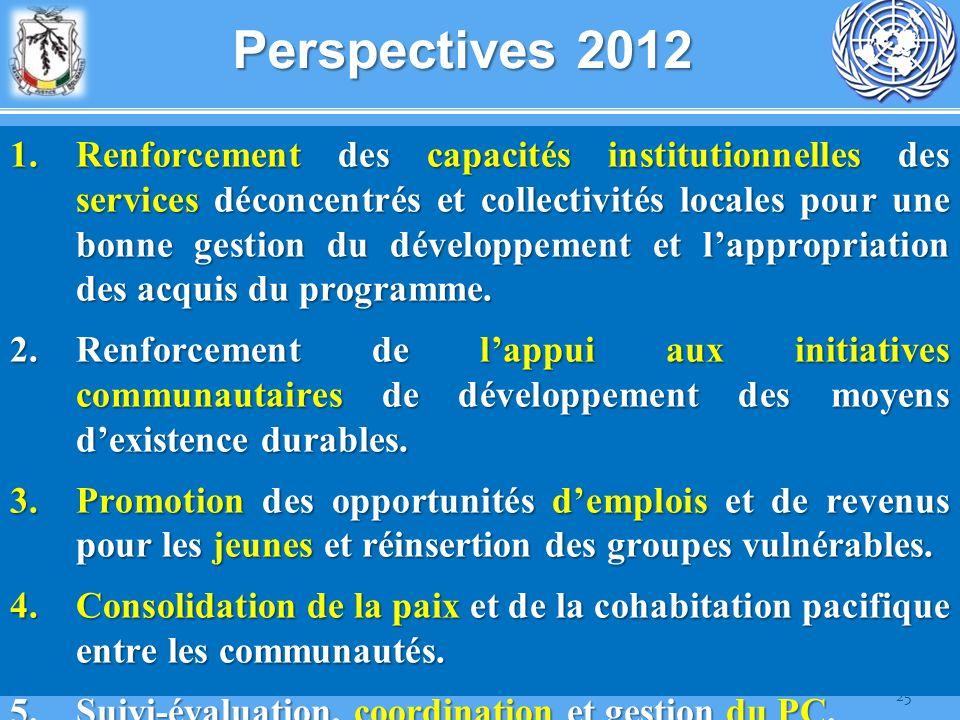 25 Perspectives 2012 1.Renforcement des capacités institutionnelles des services déconcentrés et collectivités locales pour une bonne gestion du dével