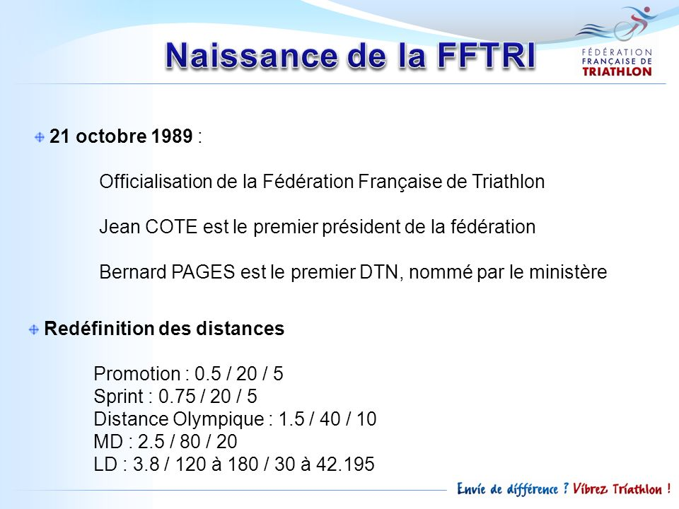 21 octobre 1989 : Officialisation de la Fédération Française de Triathlon Jean COTE est le premier président de la fédération Bernard PAGES est le pre