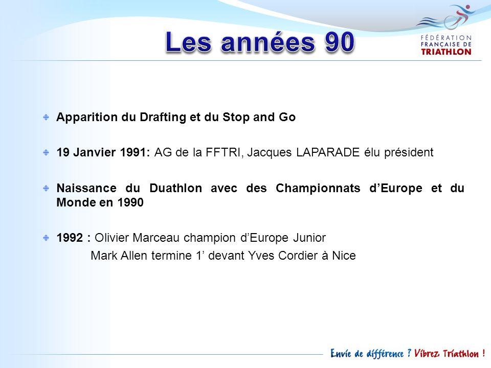 Apparition du Drafting et du Stop and Go 19 Janvier 1991: AG de la FFTRI, Jacques LAPARADE élu président Naissance du Duathlon avec des Championnats d