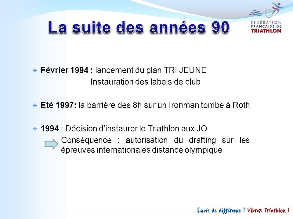 Février 1994 : lancement du plan TRI JEUNE Instauration des labels de club Eté 1997: la barrière des 8h sur un Ironman tombe à Roth 1994 : Décision di