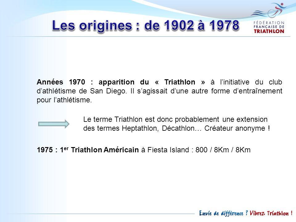 Années 1970 : apparition du « Triathlon » à linitiative du club dathlétisme de San Diego. Il sagissait dune autre forme dentraînement pour lathlétisme