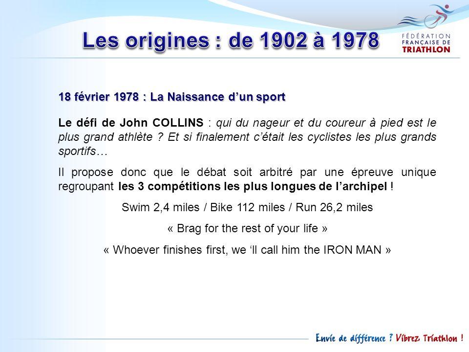 18 février 1978 : La Naissance dun sport 15 au départ, Gordon HALLER vainqueur en 11h4558 : 1 er Homme de Fer 3 abandons au cours de lépreuve 1979 : 2 ème Edition 1979 : 2 ème Edition, participation dune féminine Lyn LEMAIRE, a 1 ère IRON WOMAN 5 ème au scratch en 12h5538