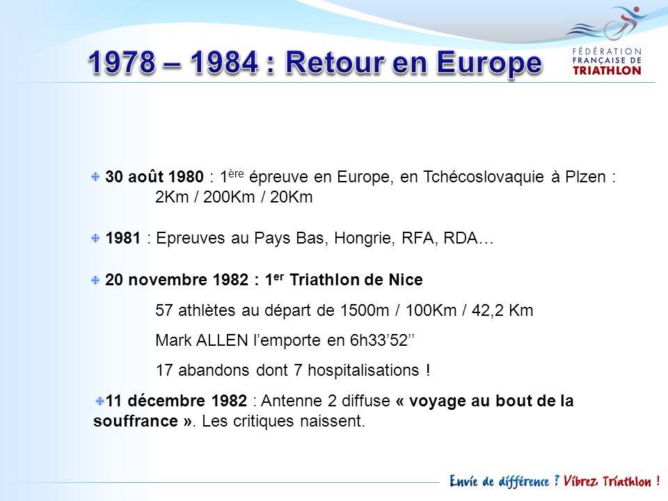 30 août 1980 : 1 ère épreuve en Europe, en Tchécoslovaquie à Plzen : 2Km / 200Km / 20Km 1981 : Epreuves au Pays Bas, Hongrie, RFA, RDA… 20 novembre 19