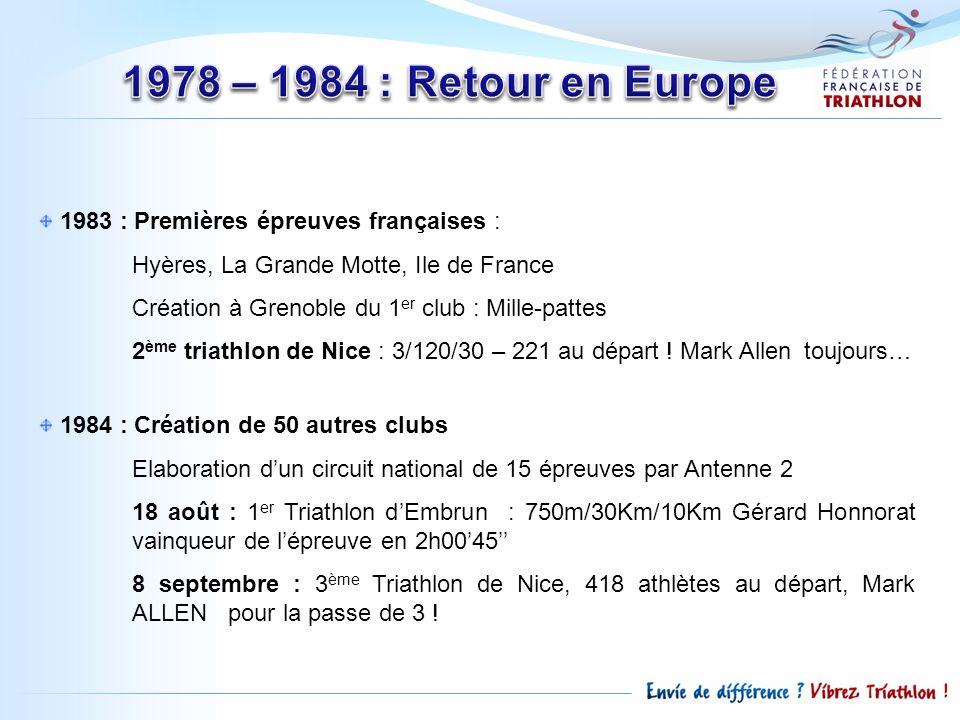 1983 : Premières épreuves françaises : Hyères, La Grande Motte, Ile de France Création à Grenoble du 1 er club : Mille-pattes 2 ème triathlon de Nice