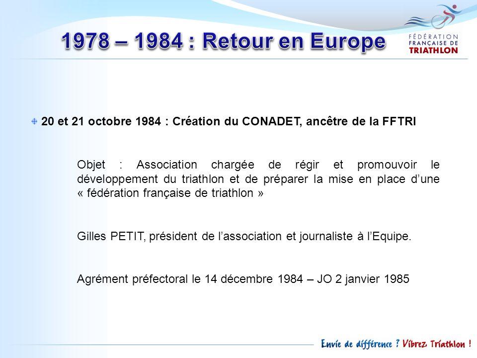 16 Mars 1985 : première AG du CONADET 1985 : 86 épreuves et 55 clubs en France 1986 : Naissance du « Promo » (500m/20km/5km) 1986 : début de la formation des cadres et entraineurs : Brevet de Qualification en Triathlon 15 novembre 1987 : création de la TIF (fédé internationale) qui comprend 22 fédérations nationales… conflit dintérêt entre USA et Europe… 31 mars 1989 : création de lITU, 35 fédérations nationales.