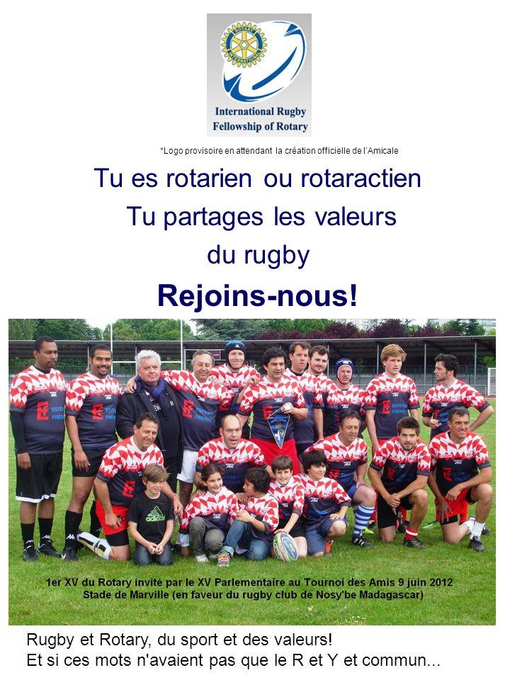 Tu es rotarien ou rotaractien Tu partages les valeurs du rugby Rejoins-nous! Rugby et Rotary, du sport et des valeurs! Et si ces mots n'avaient pas qu