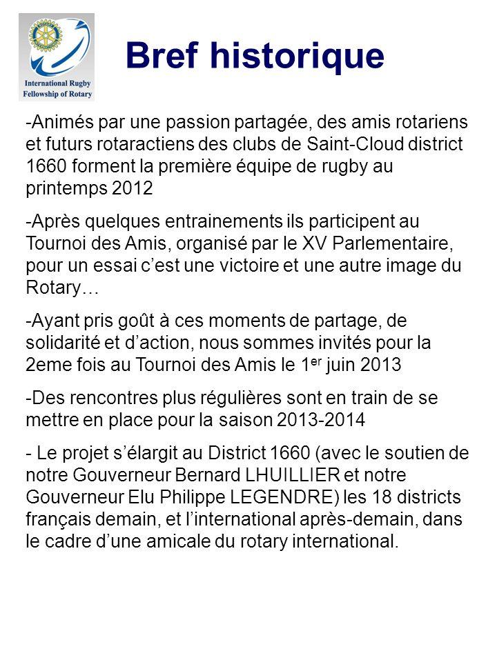 Bref historique -Animés par une passion partagée, des amis rotariens et futurs rotaractiens des clubs de Saint-Cloud district 1660 forment la première