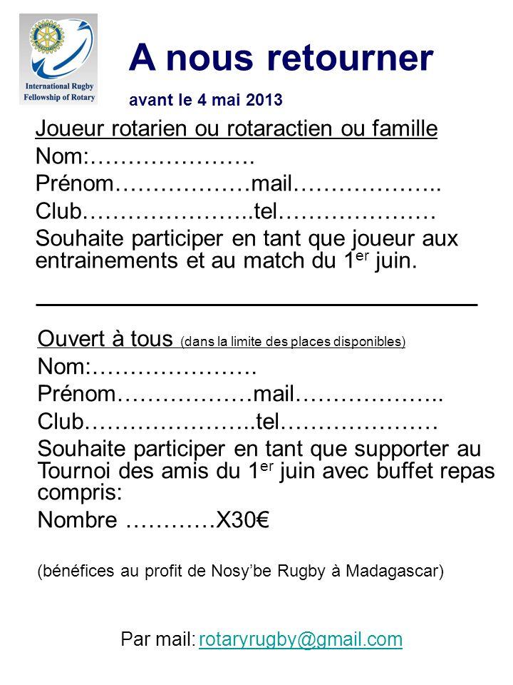 Par mail: rotaryrugby@gmail.com rotaryrugby@gmail.com A nous retourner avant le 4 mai 2013 Joueur rotarien ou rotaractien ou famille Nom:…………………. Prén