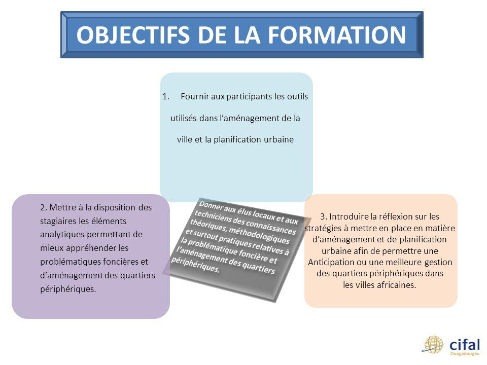 Module 1 PROBLEMATIQUE DE LA PLANIFICATION URBAINE ET DU FONCIER EN AFRIQUE Module 2 APPROCHE GLOBALE DE LAMENAGEMENT DU TERRITOIRE ET ENJEUX METHODOLOGIQUES DE LA PLANIFICATION URBAINE Module 5 EXTENSION URBAINE ET AMELIORATION DES QUARTIERS PERIPHERIQUES : QUELLES STRATEGIES .