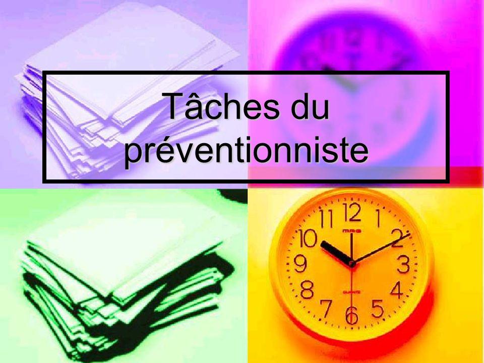 Les tâches du préventionniste 1.Gérer ses activités de prévention 1.