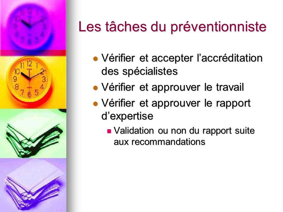 Les tâches du préventionniste Vérifier et accepter laccréditation des spécialistes Vérifier et accepter laccréditation des spécialistes Vérifier et ap