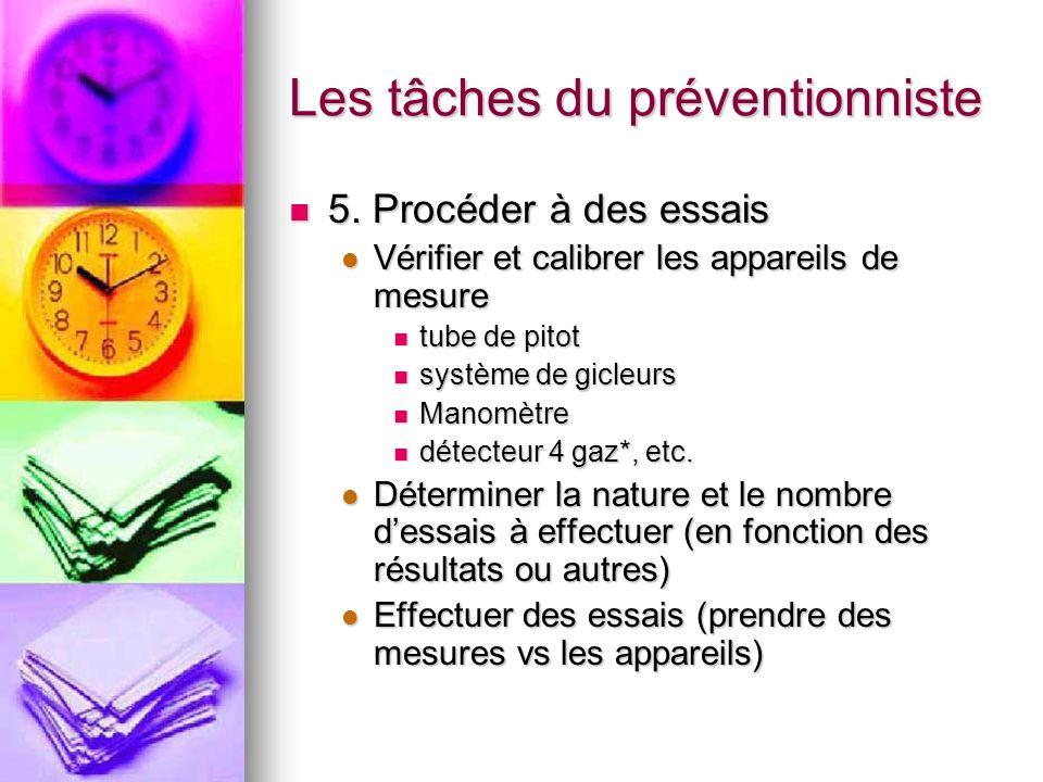 Les tâches du préventionniste 5. Procéder à des essais 5. Procéder à des essais Vérifier et calibrer les appareils de mesure Vérifier et calibrer les
