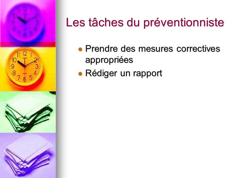 Les tâches du préventionniste Prendre des mesures correctives appropriées Prendre des mesures correctives appropriées Rédiger un rapport Rédiger un ra