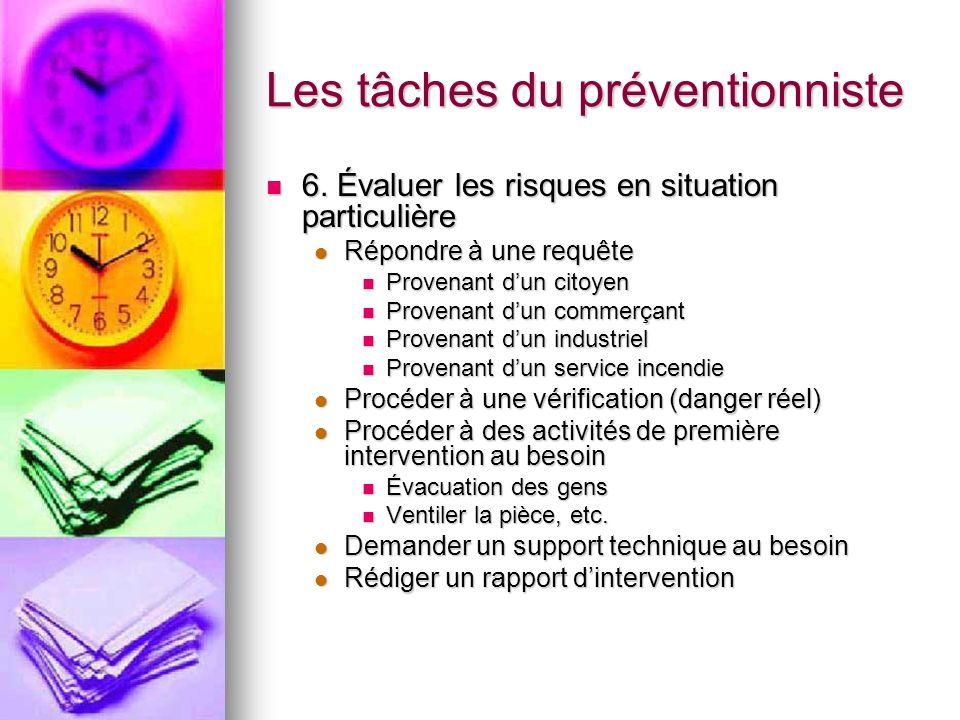 Les tâches du préventionniste 6. Évaluer les risques en situation particulière 6. Évaluer les risques en situation particulière Répondre à une requête