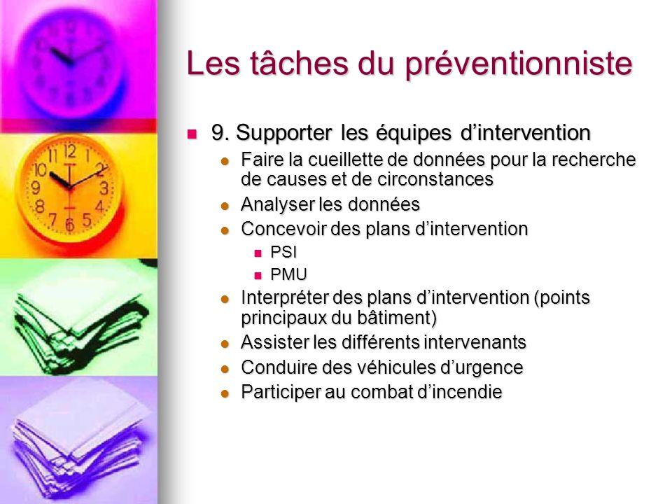 Les tâches du préventionniste 9. Supporter les équipes dintervention 9. Supporter les équipes dintervention Faire la cueillette de données pour la rec