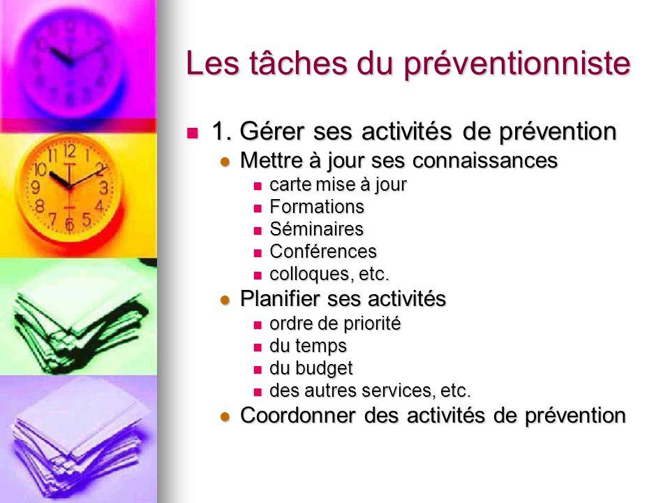 Les tâches du préventionniste 1. Gérer ses activités de prévention 1. Gérer ses activités de prévention Mettre à jour ses connaissances Mettre à jour