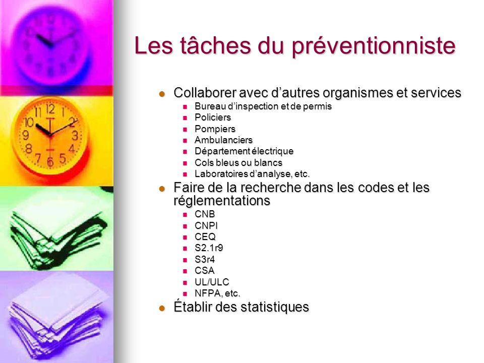 Les tâches du préventionniste Collaborer avec dautres organismes et services Collaborer avec dautres organismes et services Bureau dinspection et de p