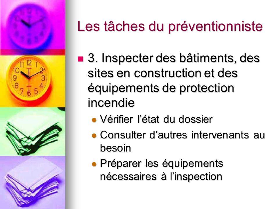 Les tâches du préventionniste 3. Inspecter des bâtiments, des sites en construction et des équipements de protection incendie 3. Inspecter des bâtimen
