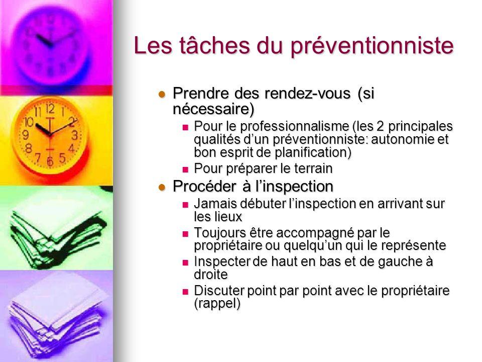 Les tâches du préventionniste Prendre des rendez-vous (si nécessaire) Prendre des rendez-vous (si nécessaire) Pour le professionnalisme (les 2 princip
