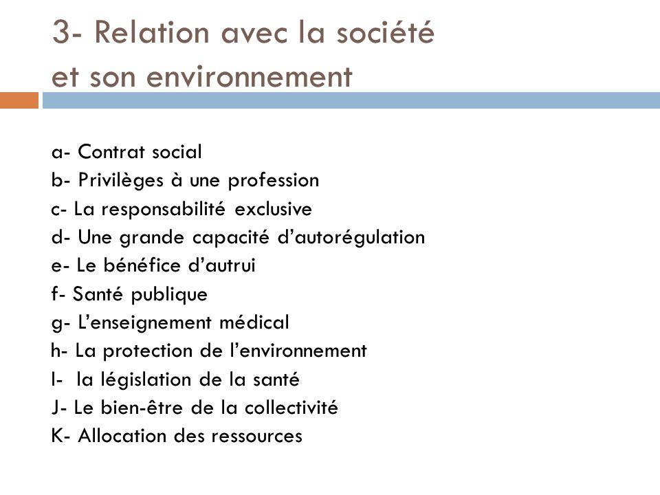 3- Relation avec la société et son environnement a- Contrat social b- Privilèges à une profession c- La responsabilité exclusive d- Une grande capacit