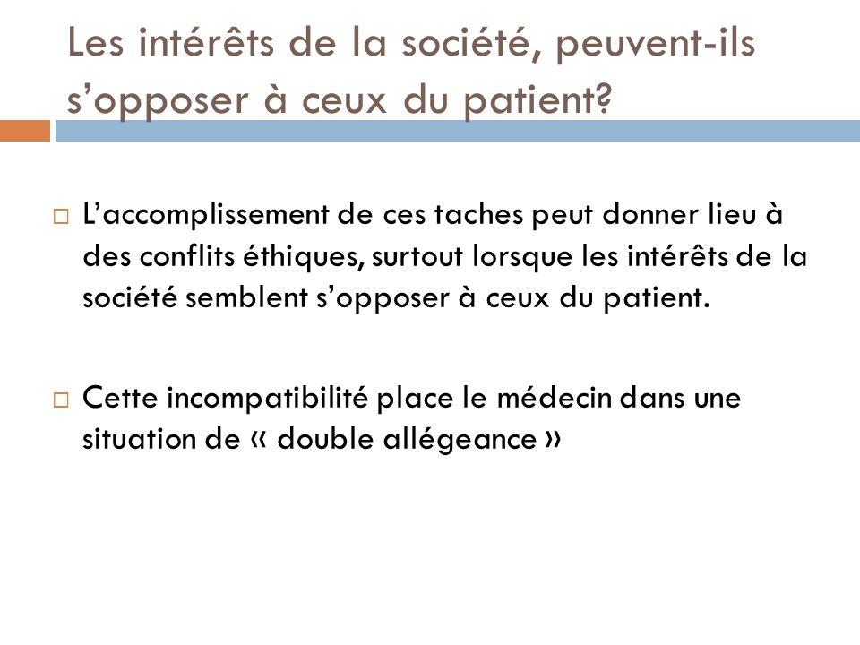 Les intérêts de la société, peuvent-ils sopposer à ceux du patient? Laccomplissement de ces taches peut donner lieu à des conflits éthiques, surtout l