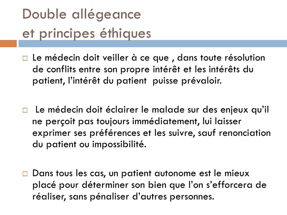 Double allégeance et principes éthiques Le médecin doit veiller à ce que, dans toute résolution de conflits entre son propre intérêt et les intérêts d