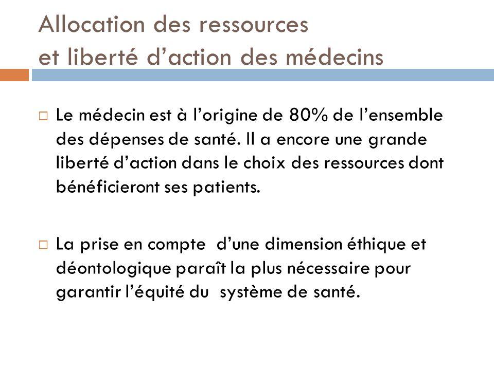 Allocation des ressources et liberté daction des médecins Le médecin est à lorigine de 80% de lensemble des dépenses de santé. Il a encore une grande