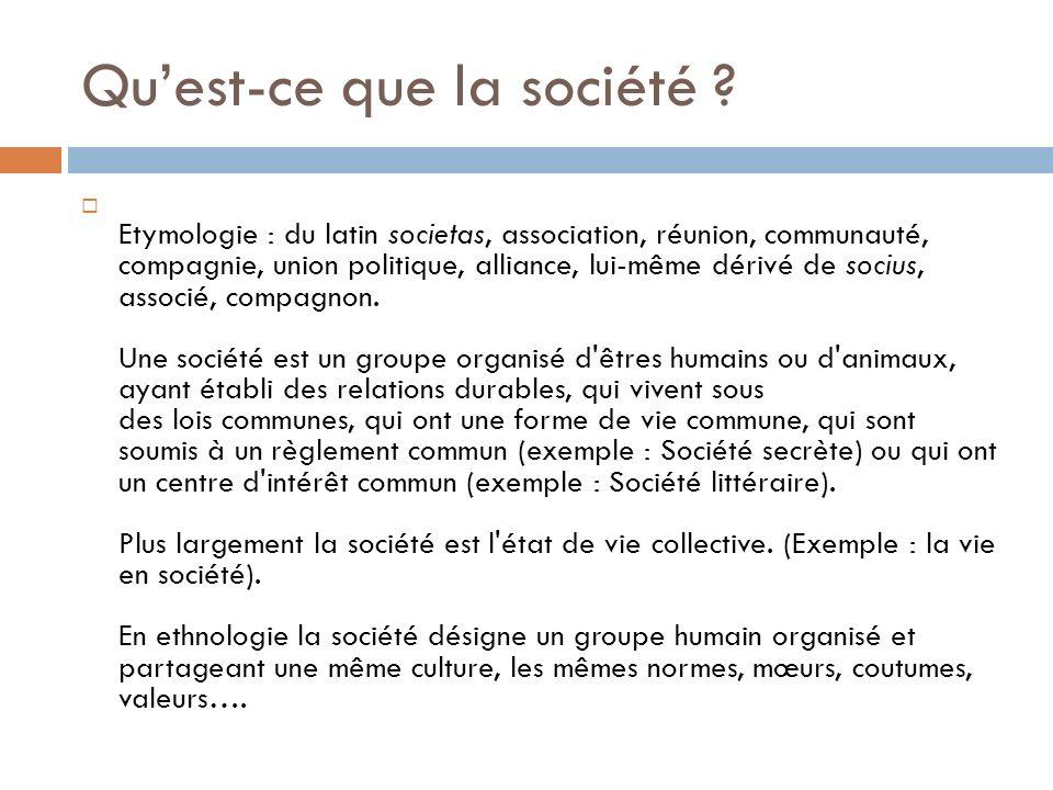 Quest-ce que la société ? Etymologie : du latin societas, association, réunion, communauté, compagnie, union politique, alliance, lui-même dérivé de s