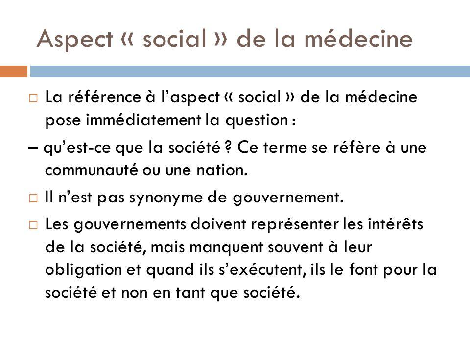 Aspect « social » de la médecine La référence à laspect « social » de la médecine pose immédiatement la question : – quest-ce que la société ? Ce term