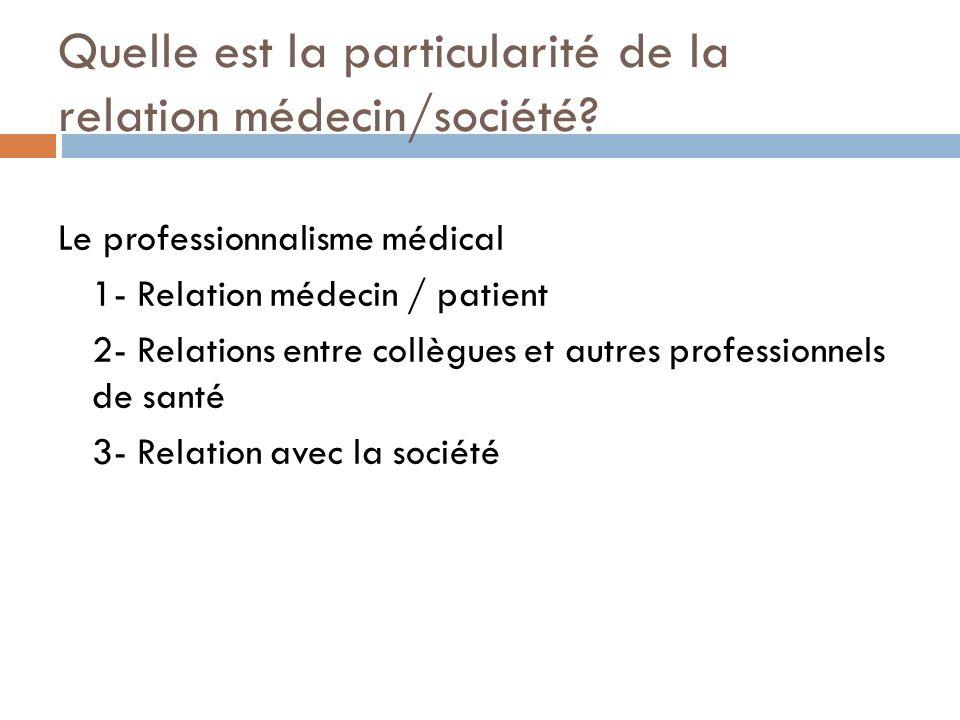 Quelle est la particularité de la relation médecin/société? Le professionnalisme médical 1- Relation médecin / patient 2- Relations entre collègues et