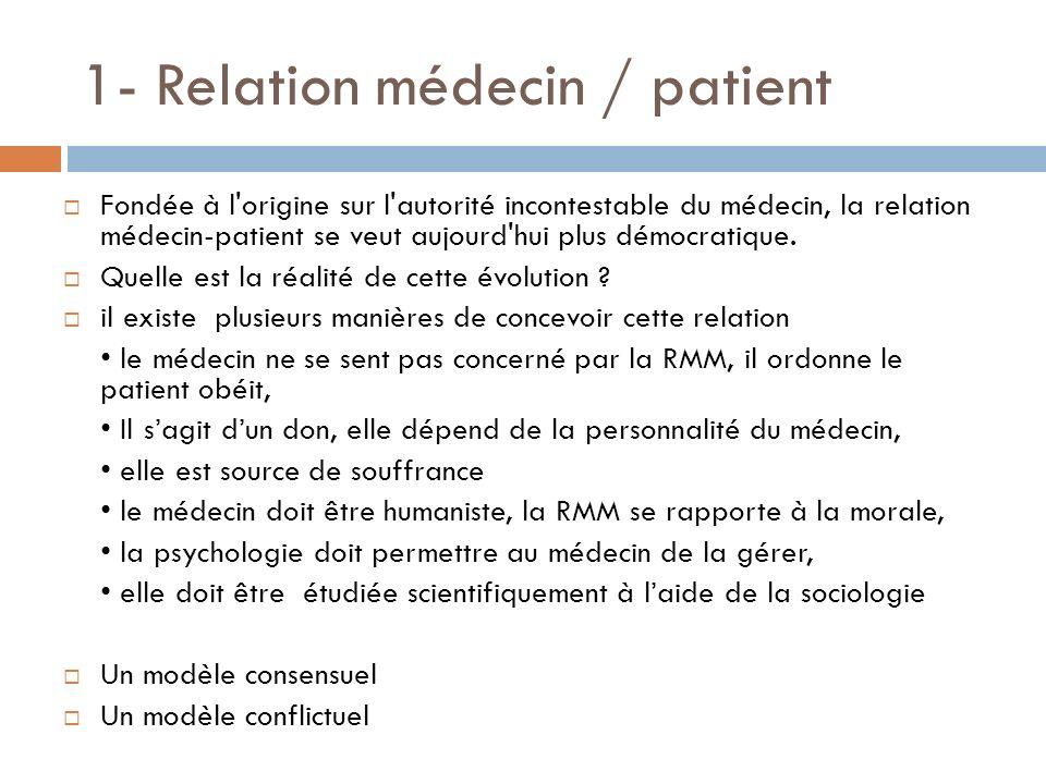 1- Relation médecin / patient Fondée à l'origine sur l'autorité incontestable du médecin, la relation médecin-patient se veut aujourd'hui plus démocra