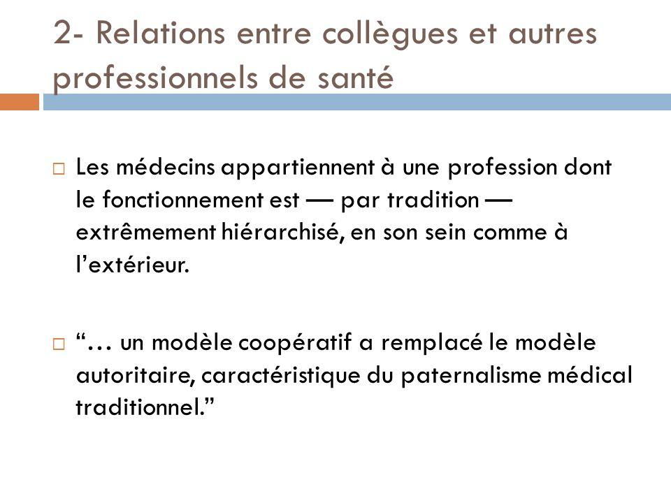 2- Relations entre collègues et autres professionnels de santé Les médecins appartiennent à une profession dont le fonctionnement est par tradition ex