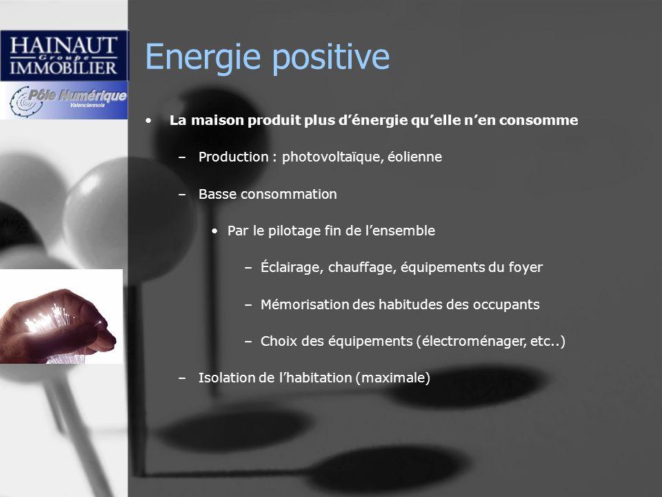 Energie positive La maison produit plus dénergie quelle nen consomme –Production : photovoltaïque, éolienne –Basse consommation Par le pilotage fin de