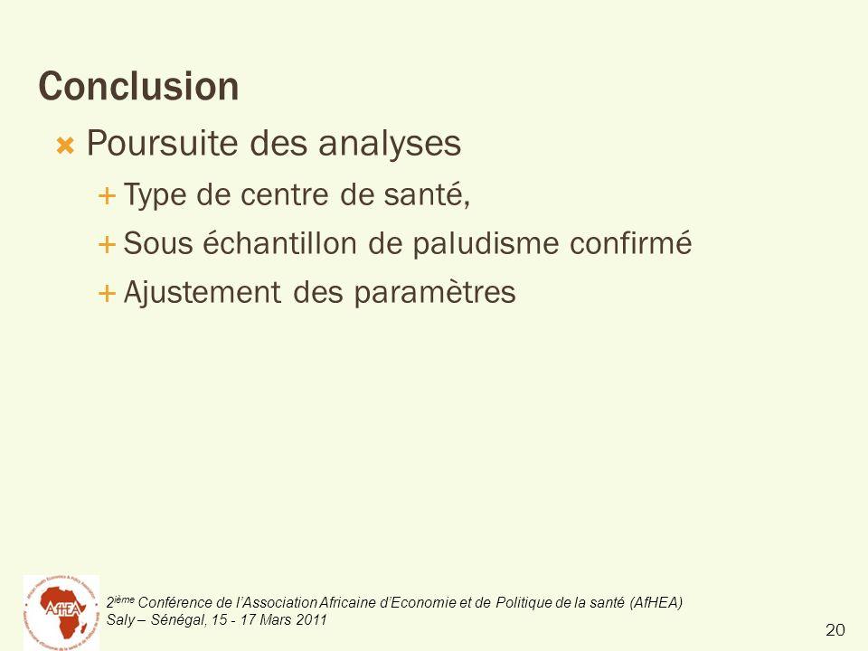 2 ième Conférence de lAssociation Africaine dEconomie et de Politique de la santé (AfHEA) Saly – Sénégal, 15 - 17 Mars 2011 Conclusion Poursuite des analyses Type de centre de santé, Sous échantillon de paludisme confirmé Ajustement des paramètres 20