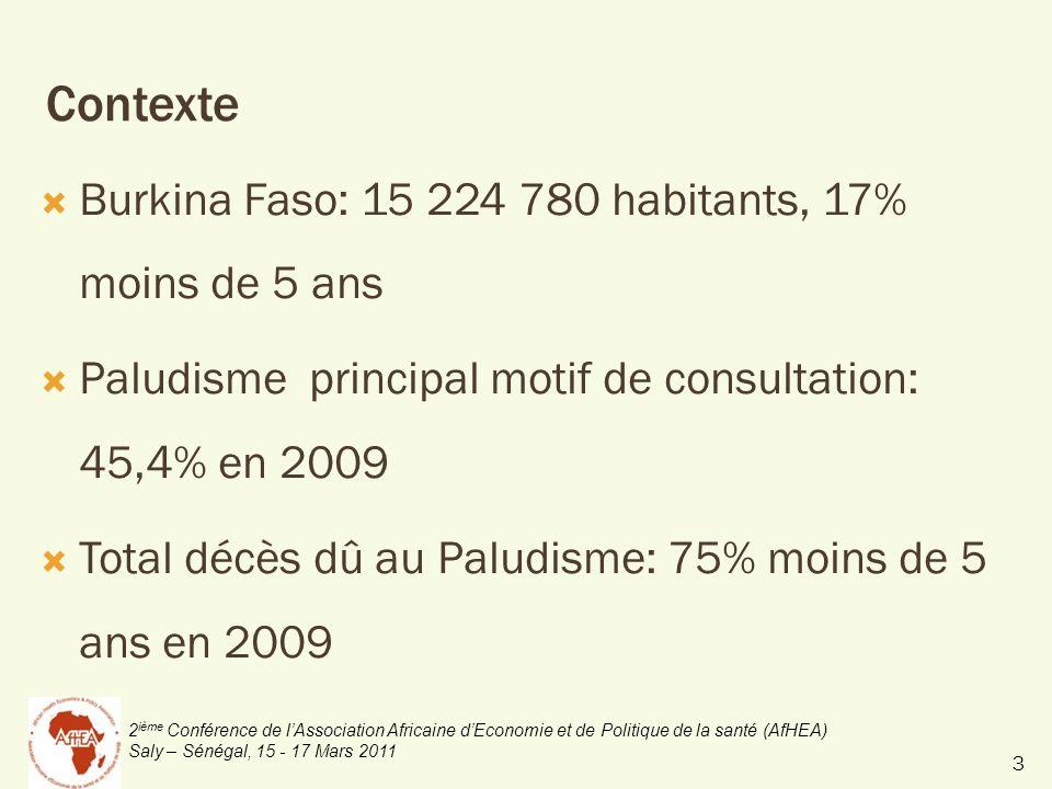2 ième Conférence de lAssociation Africaine dEconomie et de Politique de la santé (AfHEA) Saly – Sénégal, 15 - 17 Mars 2011 Contexte Burkina Faso: 15 224 780 habitants, 17% moins de 5 ans Paludisme principal motif de consultation: 45,4% en 2009 Total décès dû au Paludisme: 75% moins de 5 ans en 2009 3