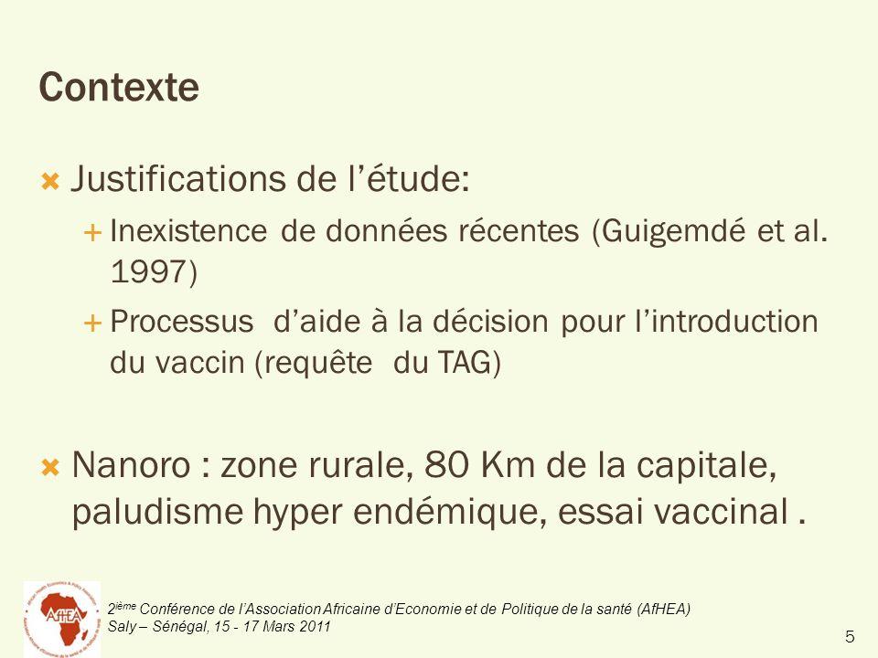 2 ième Conférence de lAssociation Africaine dEconomie et de Politique de la santé (AfHEA) Saly – Sénégal, 15 - 17 Mars 2011 Contexte Justifications de létude: Inexistence de données récentes (Guigemdé et al.