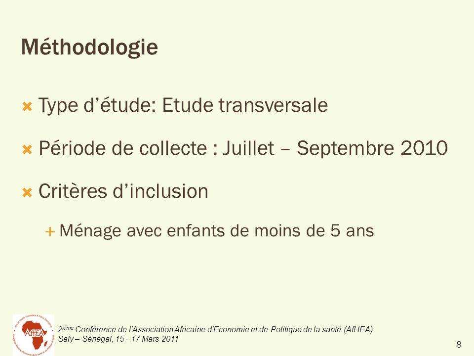 2 ième Conférence de lAssociation Africaine dEconomie et de Politique de la santé (AfHEA) Saly – Sénégal, 15 - 17 Mars 2011 Méthodologie Type détude: Etude transversale Période de collecte : Juillet – Septembre 2010 Critères dinclusion Ménage avec enfants de moins de 5 ans 8
